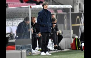 In this Tuesday, October 13, 2020 file photo, Germany's head coach, Joachim Loew(SPELLING), reacts during the UEFA Nations League match against Switzerland in Cologne, Germany.