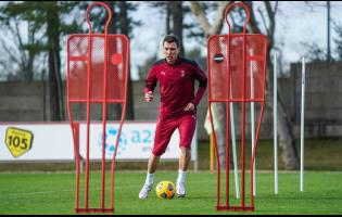 Mario Mandzukic attends his first training session at the Milanello Milan's sport centre  in Carnago, Italy, on Tuesday, January 19.