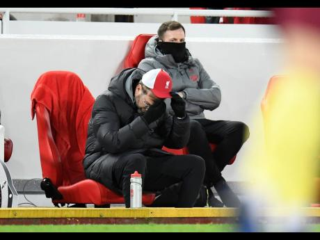 Liverpool's manager Jurgen Klopp reacts during the English Premier League match yesterday.